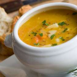 Sopa de Calabaza y Arvejas